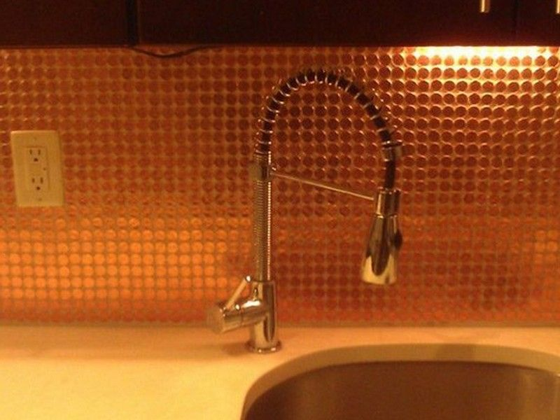 Copper Penny Tile Backsplash Best Home Design Ideas LG