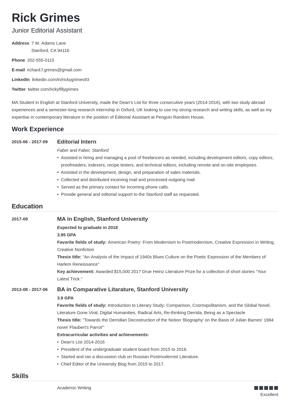 Graduate Cv Template Nanica In 2020 Resume Examples Student Cv Examples Academic Cv