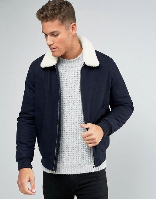 d6a3dbcfc7468 ASOS | ASOS Wool Mix Bomber Jacket With Borg Collar In Navy Borg Collar  Jacket,
