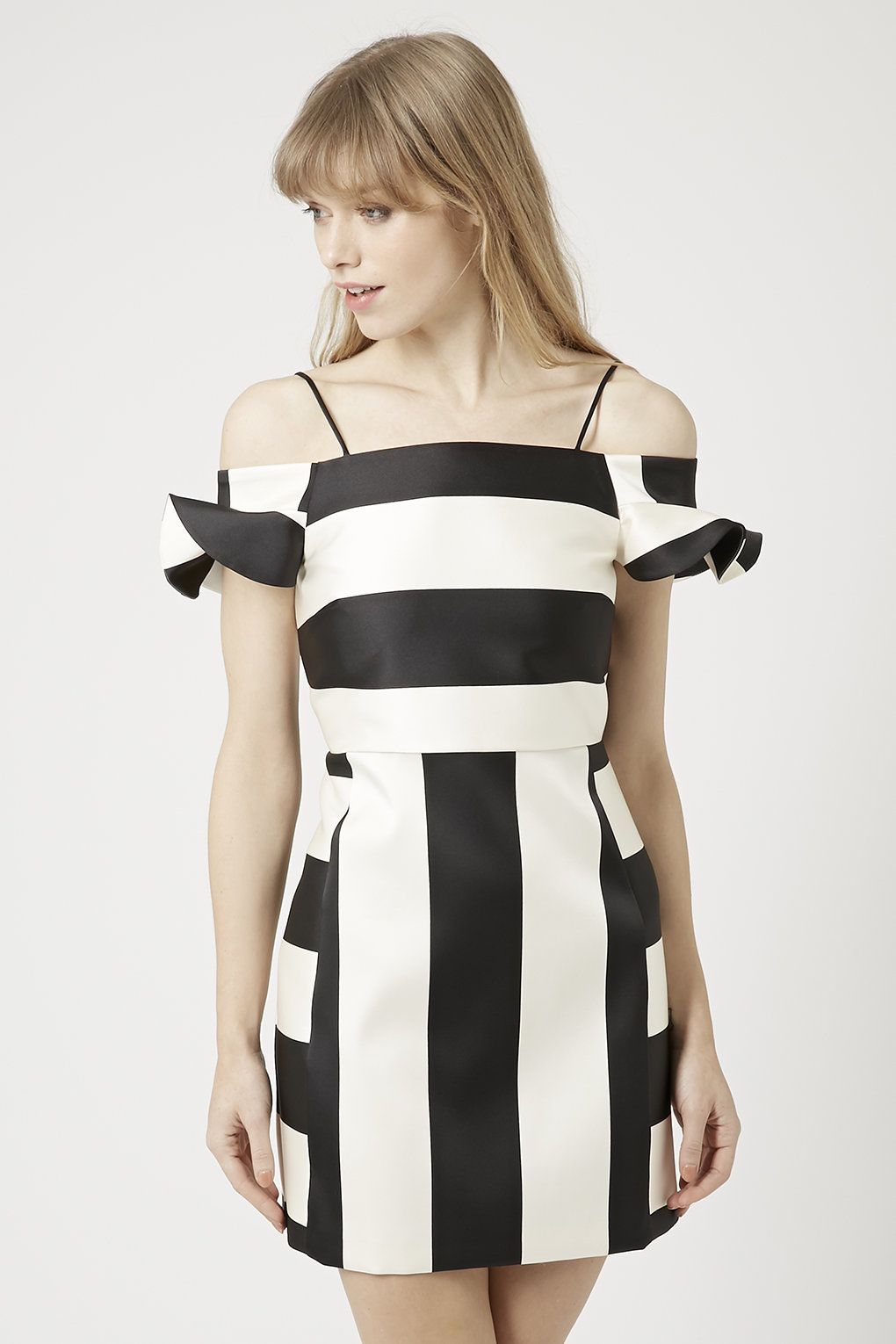 e09c493061 DRESS | Topshop, Satin stripe Bardot dress | fshunie | Bardot dress ...