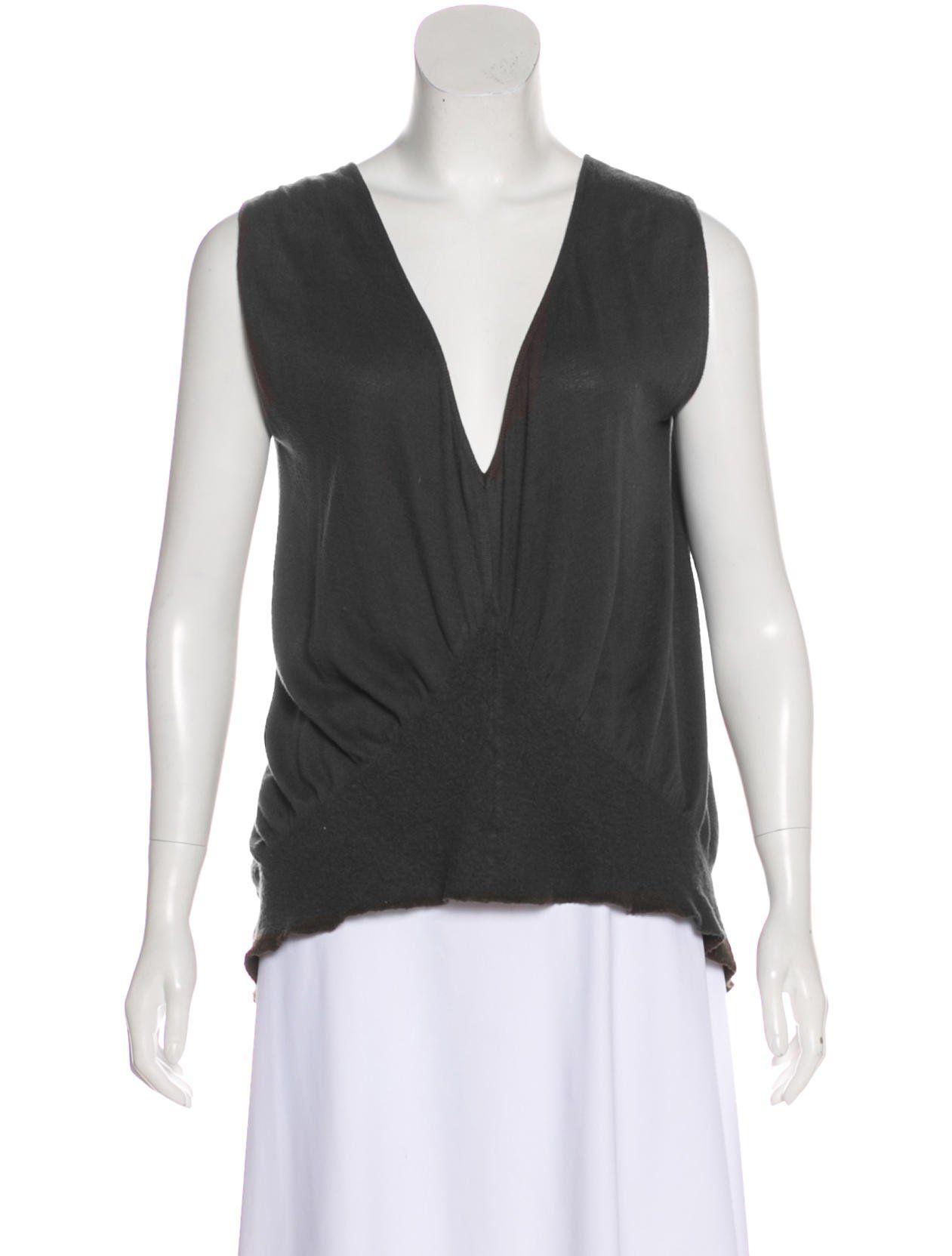 44b90fbf00d65c Charcoal Rick Owens sleeveless top featuring V-neck