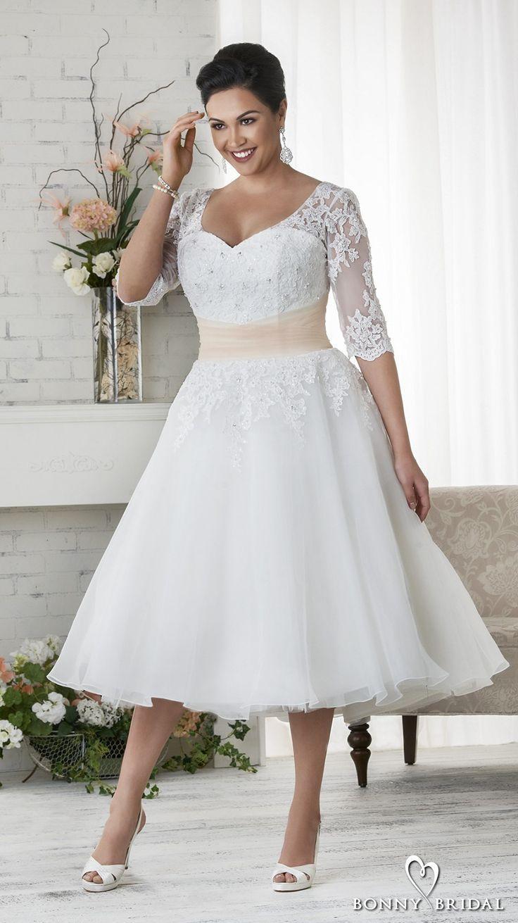 639563a5eed bonny bridal 2017 half sleeves sweetheart neckline heavily embellished plus  size tea length short wedding dress covered lace back (1523) fv -- Bonny  Bridal ...