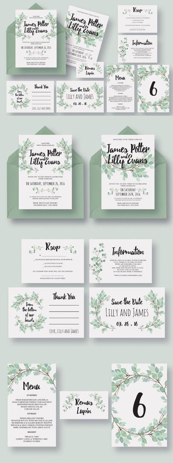 Eucalyptus Wedding Invitation Suite | Hochzeitseinladung ...