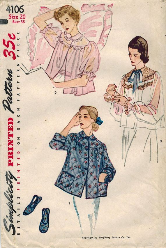Simplicity 4106 from 1952 - Misses Bed Jacket & Slipper Pattern