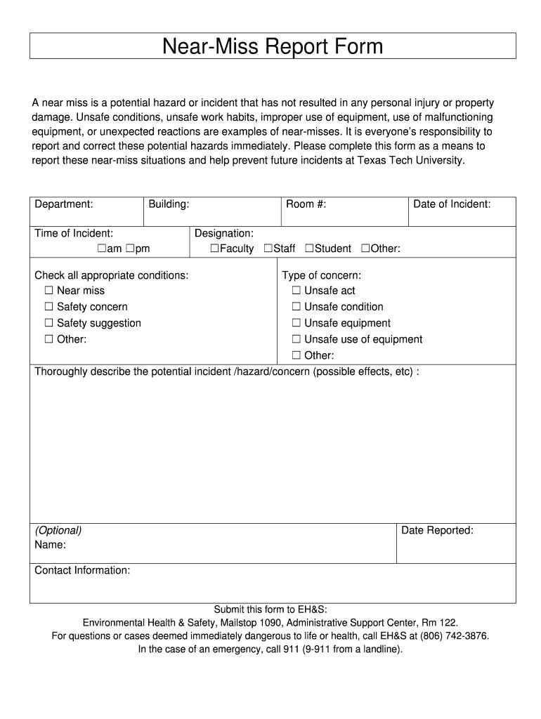 The Fascinating Near Miss Report Format Fill Online Printable Fillable With Regard To Near Miss Incident Rep Incident Report Report Template Best Templates Near miss report form template