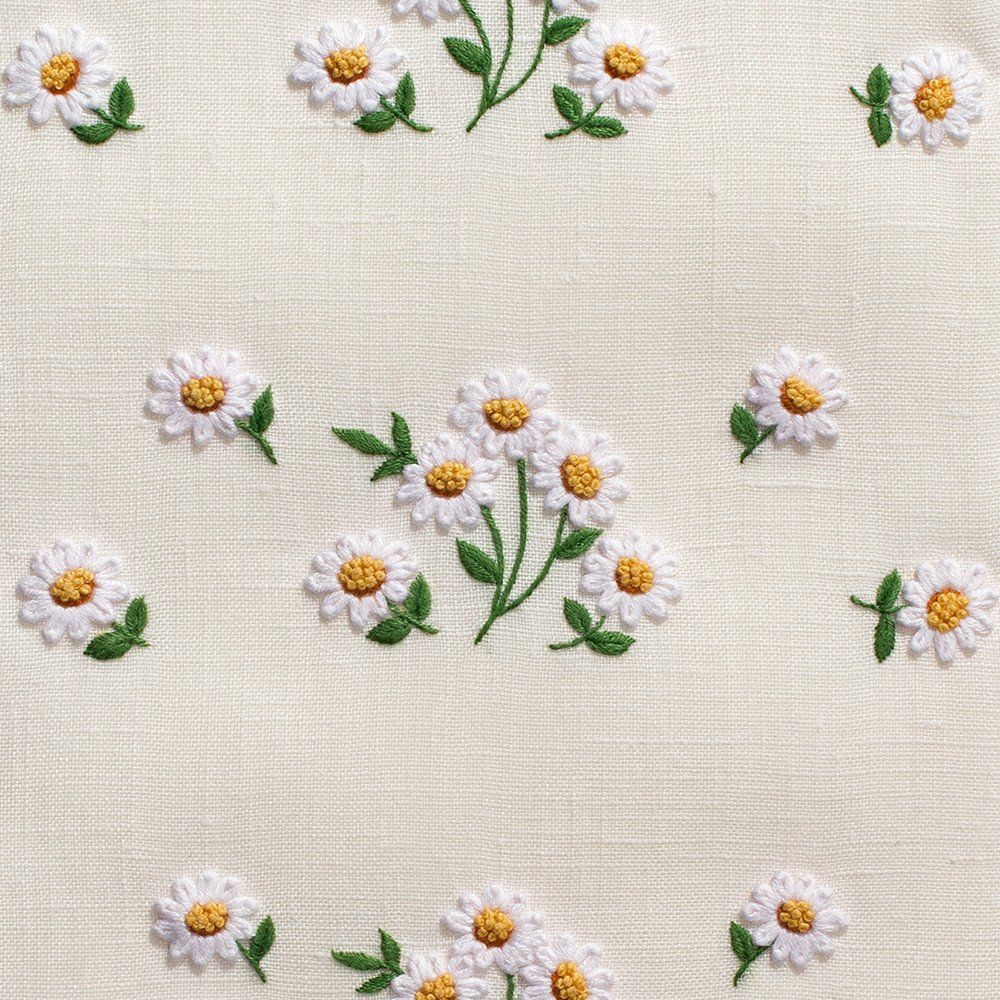 Daisies scatterhand towel ivory linen towels ivory and linens