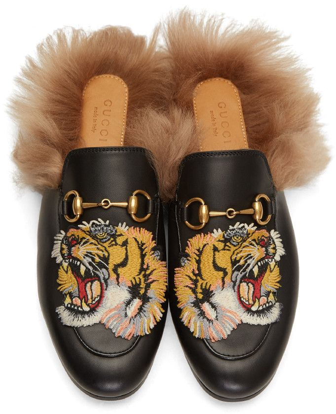 51b256f188b Gucci - Black Tiger Princetown Slip-On Loafers