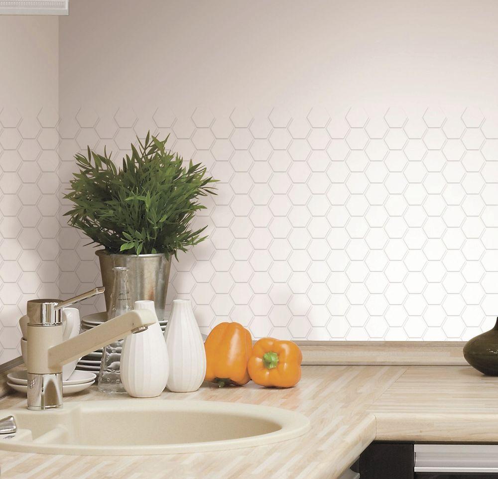 Kitchen Wall Decor Tiles: HEXAGON 4 WHITE TILES Kitchen Wall Backsplash Peel & Stick