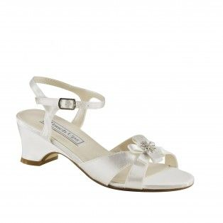 Tina 154 Flower Girl Low Heel Sandals White Wedding Shoes