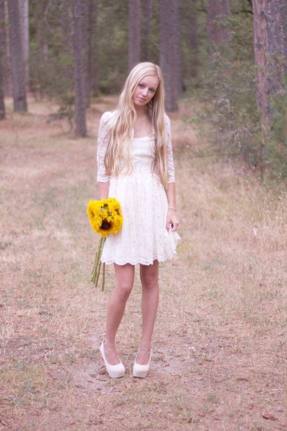 Bridal Dress Short Lace Cream Off White Ivory - \