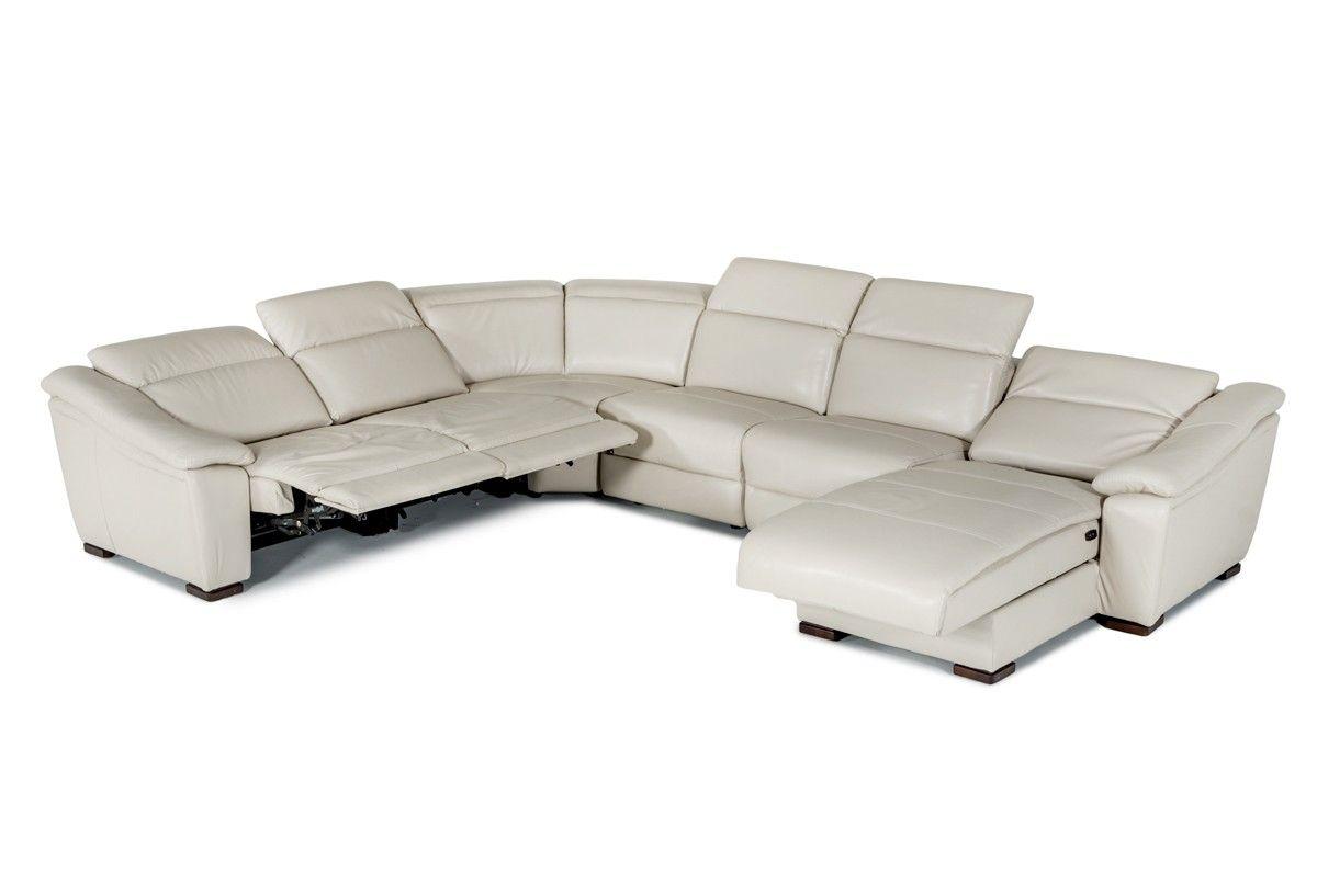 Divani Casa Jasper Modern Light Grey Leather Sectional Sofa Grey