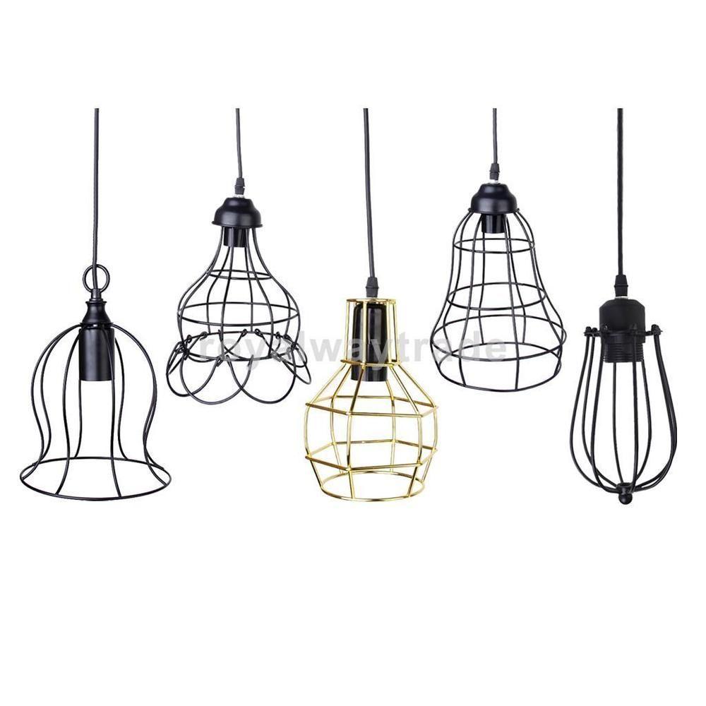details about e27 vintage ceiling edison light pendant lamp fixture chandelier cage lampshade in