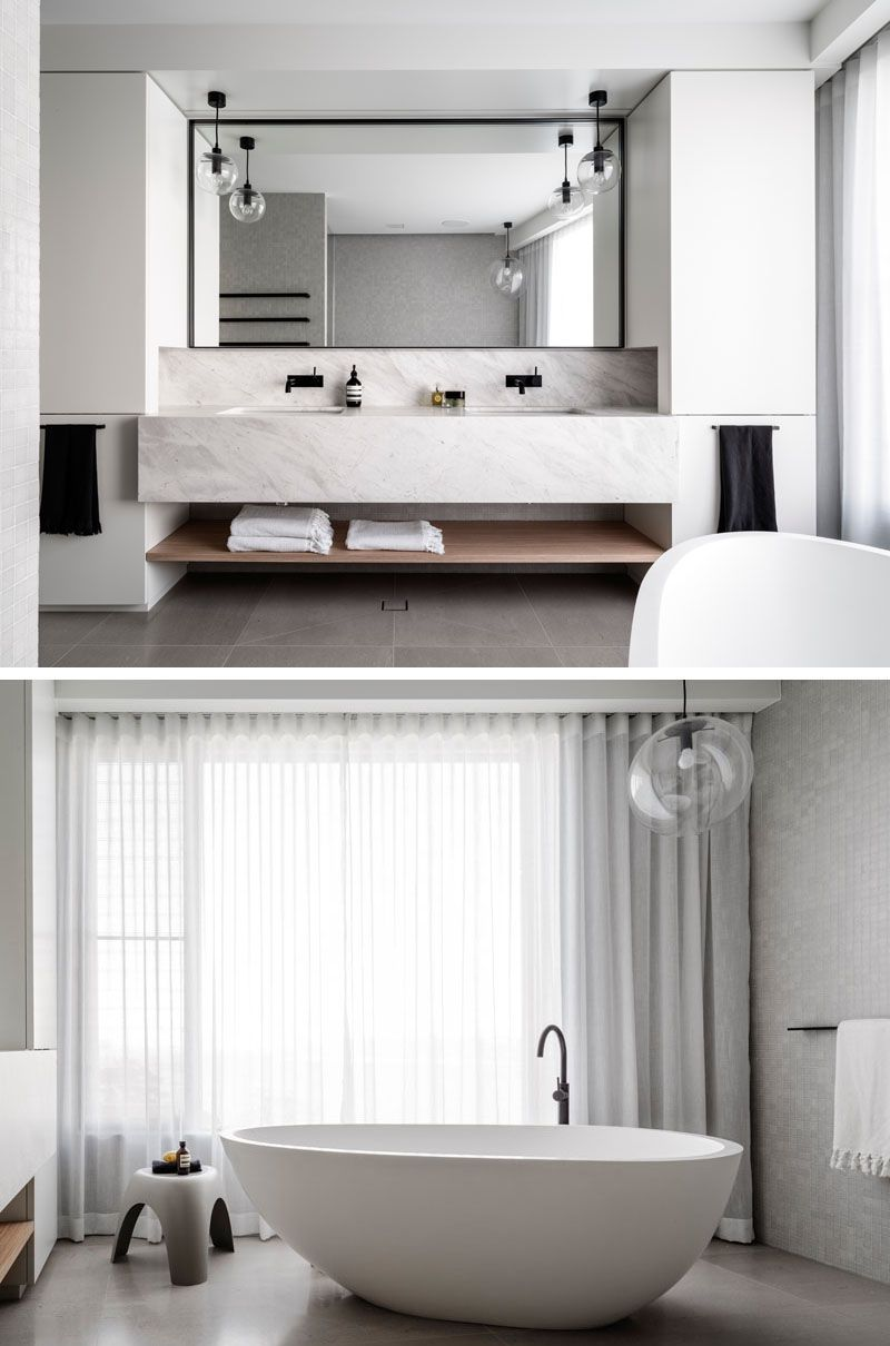 In This Master Bathroom, The Vanity Has Dual Sinks, A