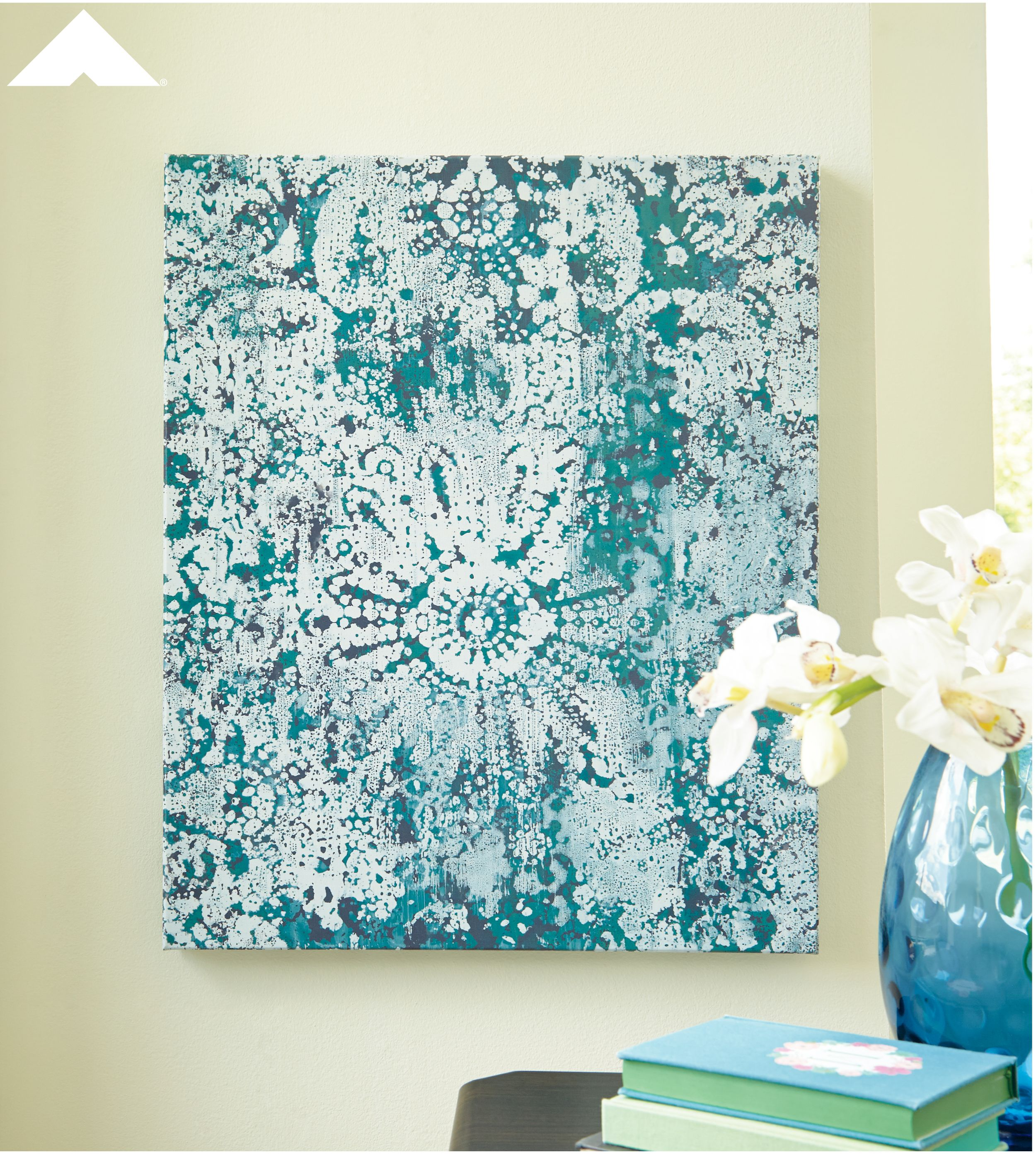 Esther Teal And White Abstract Wall Art By Ashley Furniture