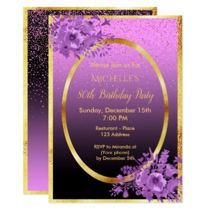 80th birthday party invitation gold black purple Floral invitation