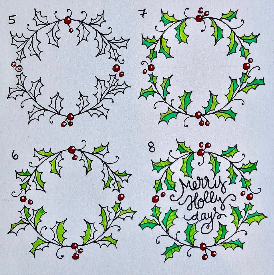 Photo of How to draw an easy Holly Wreath Doodle | Craft Designer | Marie Browning | Blog