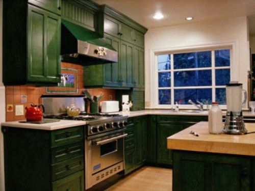 Kitchen With Dark Green Painted Cabinets Kitchen Remodel Cost Kitchen Remodel Small Simple Kitchen Remodel