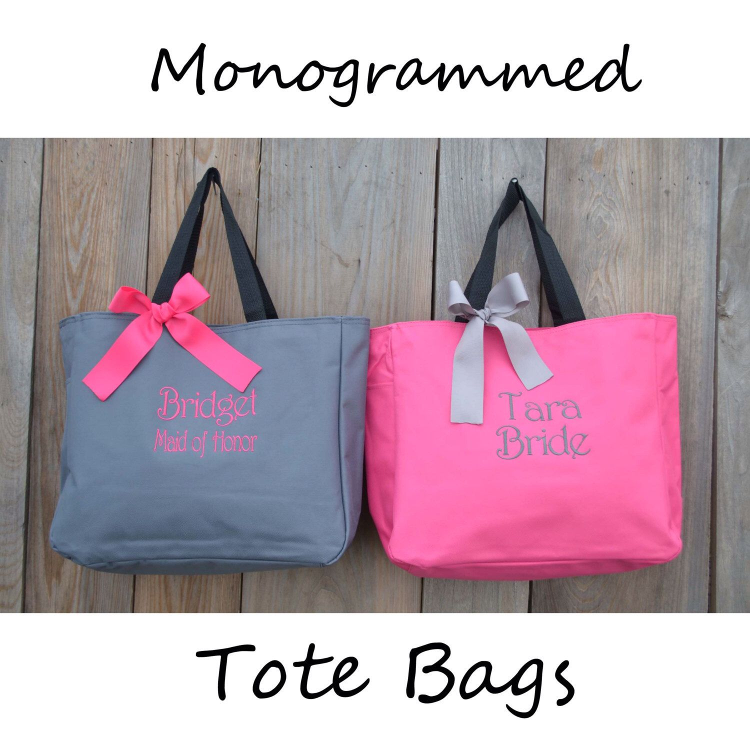 6 Personalized Bridesmaid Gift Tote Bags Bridesmaids Monogrammed By Personalizedgiftsbyj