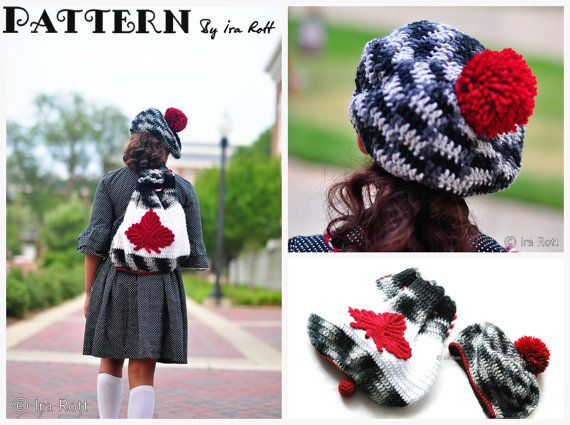Red Maple Leaf Backpack and Beret PDF Crochet Pattern by Ira Rott $ 7.50 CAD FORMAT: pdf, 10 pages, Stitch pattern includes step-by-step pictures, easy to follow