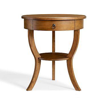 carrie pedestal bedside table almond white at pottery barn cottage master bedroom. Black Bedroom Furniture Sets. Home Design Ideas