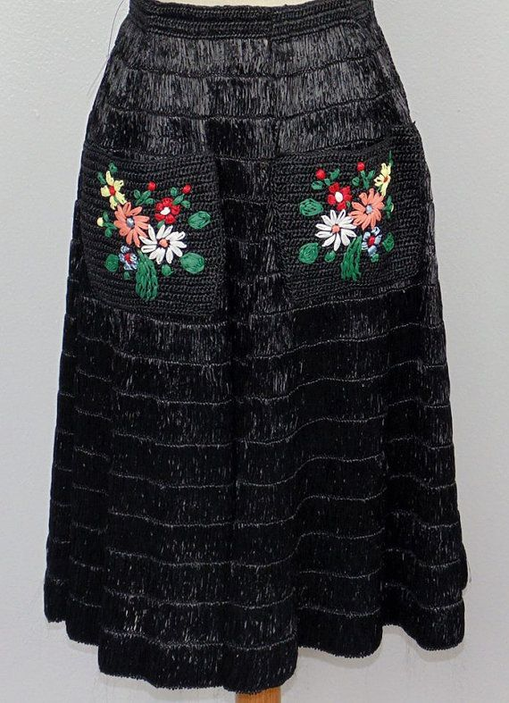 1950's black raffia straw circle skirt with by MillerAndCampbell, $125.00