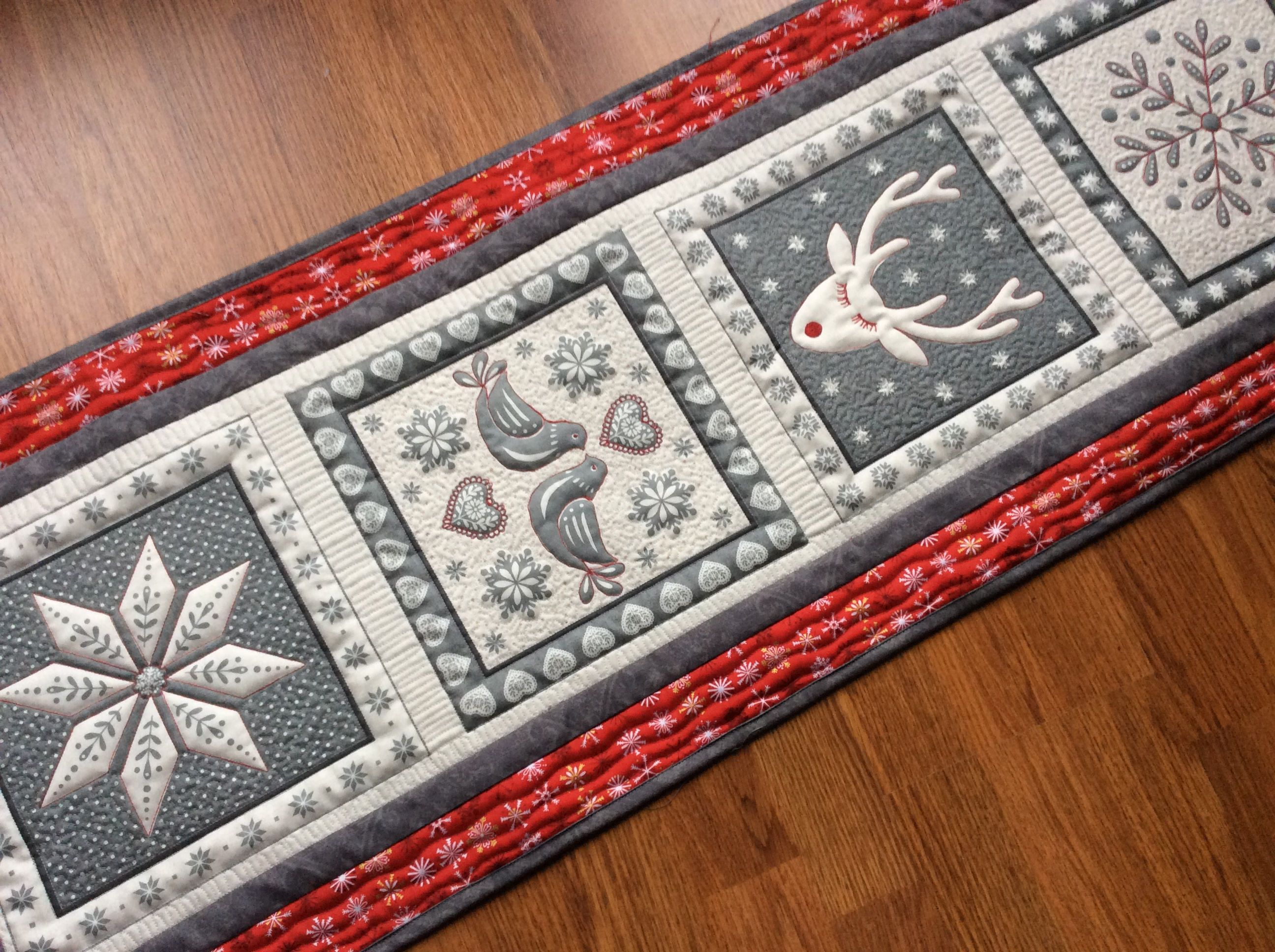 Nordic Quilted Christmas Table Runner Scandinavian Table Topper Red Grey Wall Hanging Qu Quilted Table Runners Patterns Table Runners Christmas Table Runner
