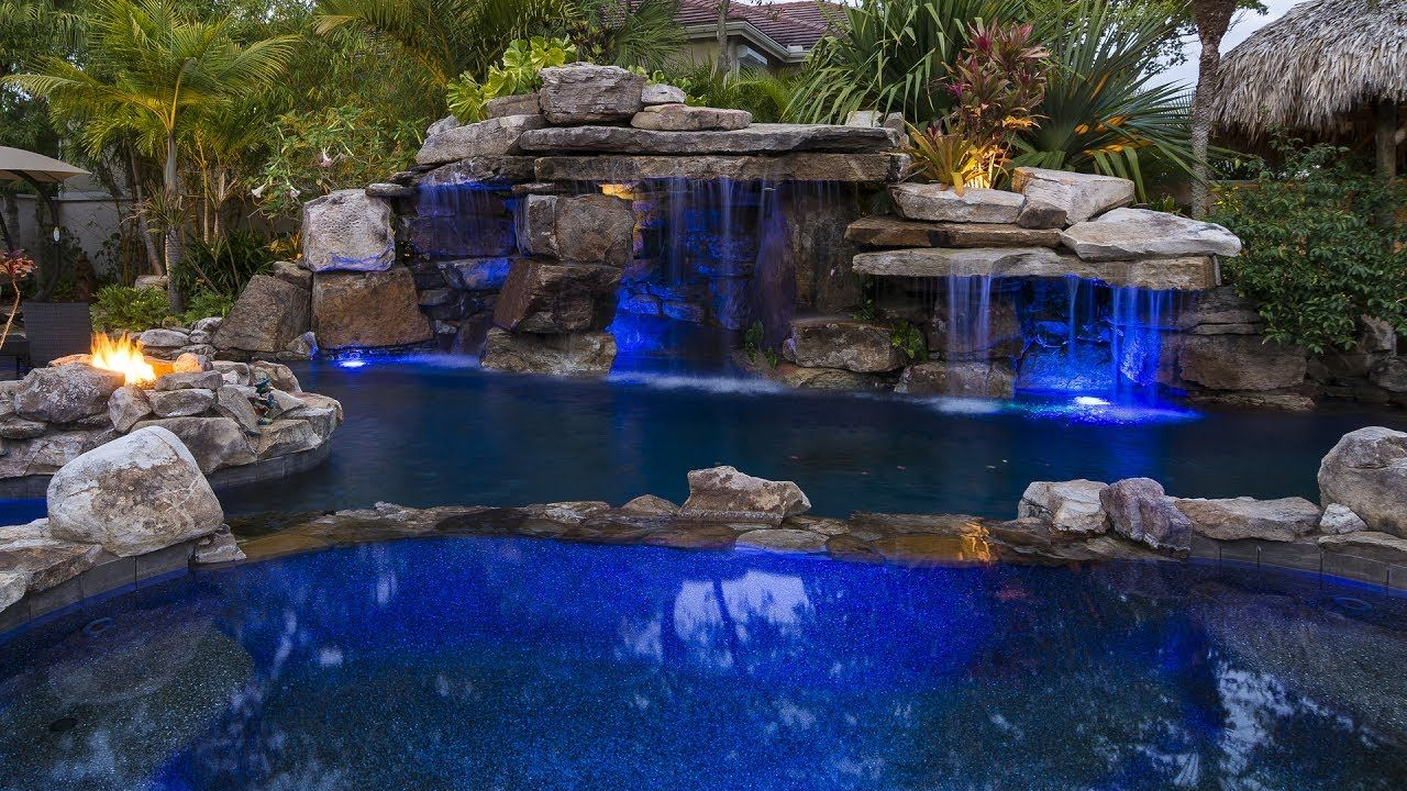 Lucas Lagoons Siesta Key Rock Waterfall Pool With Grotto