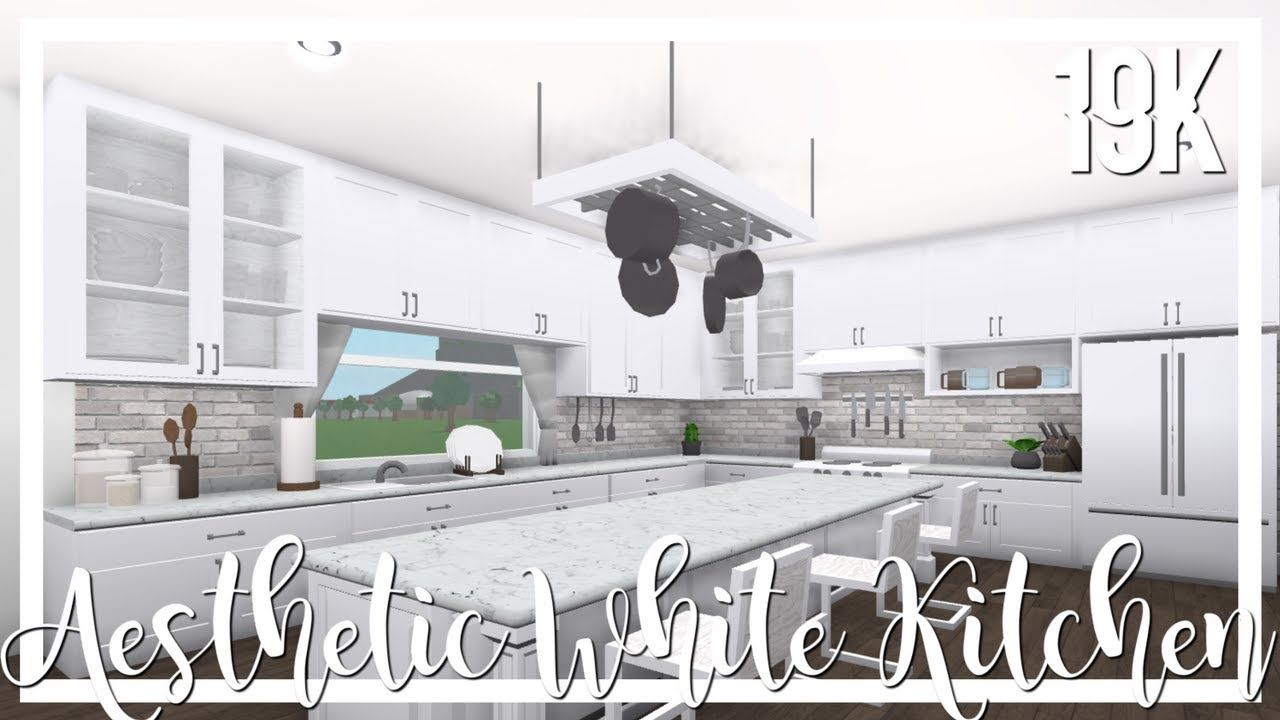 bloxburg: aesthetic white kitchen 19k | house design kitchen