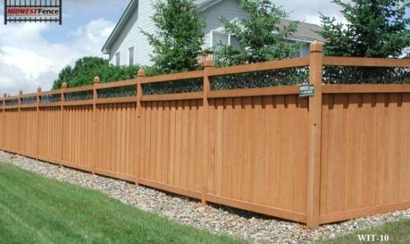 Ivy Topped Wood Privacy Fences Fence Design Privacy Fence
