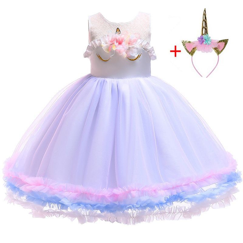 3 4 5 6 7 8 Years Baby Fancy Unicorn Dress for Girls Princess Unicornio Party