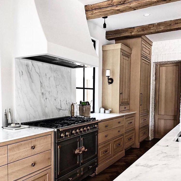 Natural Wood Cabinets, Bronze Hardware, Plaster Hood