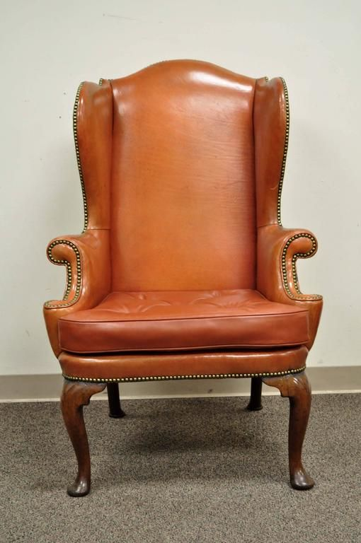 Antique 19th Century Burnt Orange Distressed Leather English Wingback Chair 2