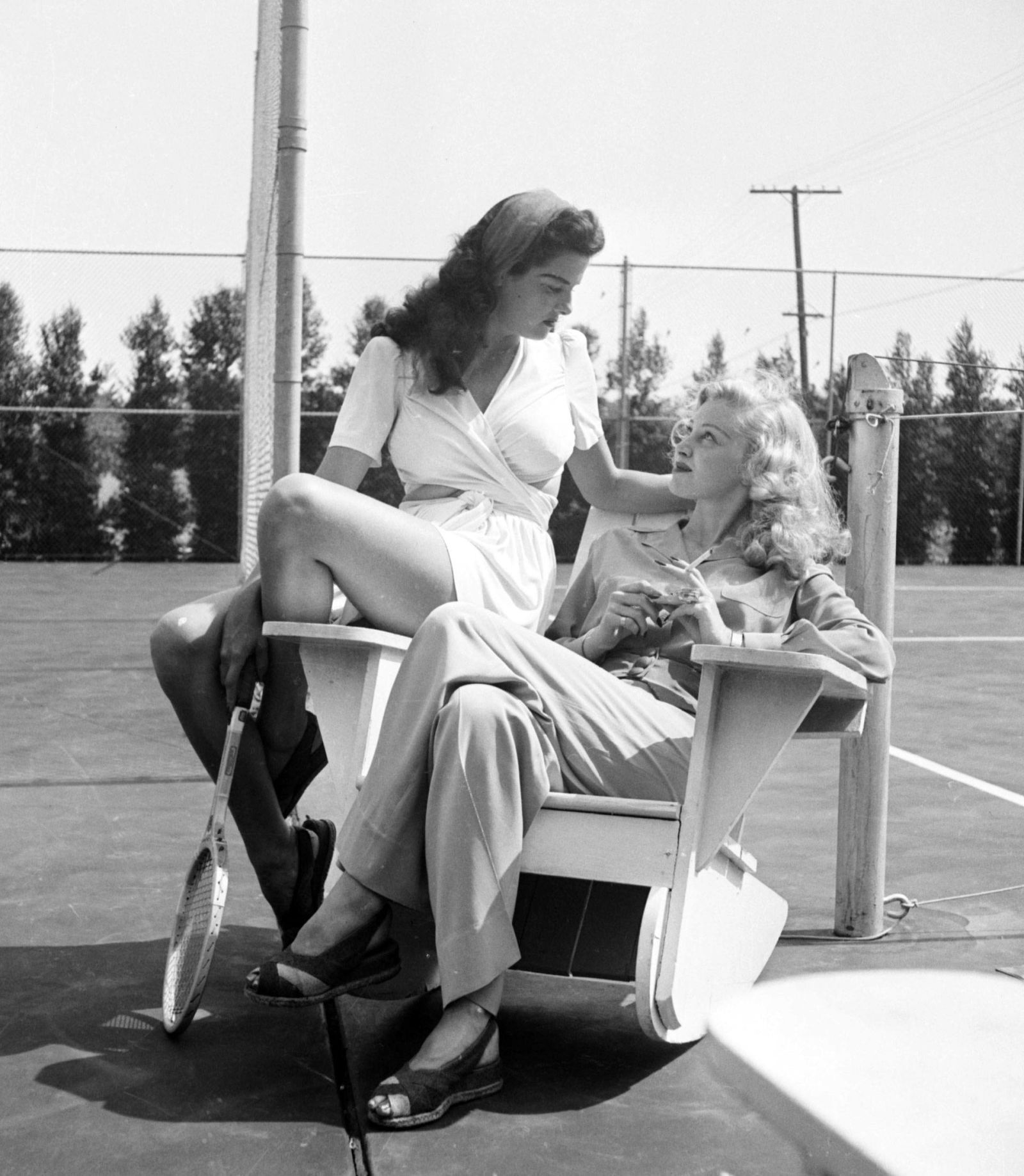 Jane Russel and a Friend On a Tennis Court, 1944