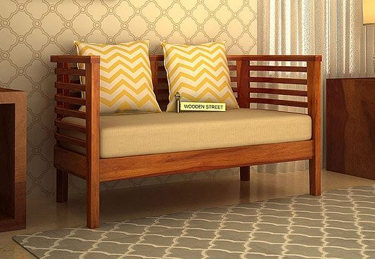 Lazy Boy Sofa The Onterio Seater Wooden Sofa with Honey Finish is a suitable choice for small space