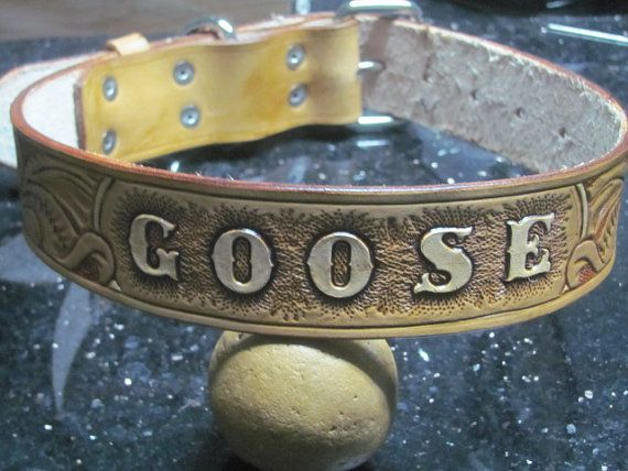 f590328a2384 Hand carved leather dog collar personalized by reiglecustomleather, $50.00