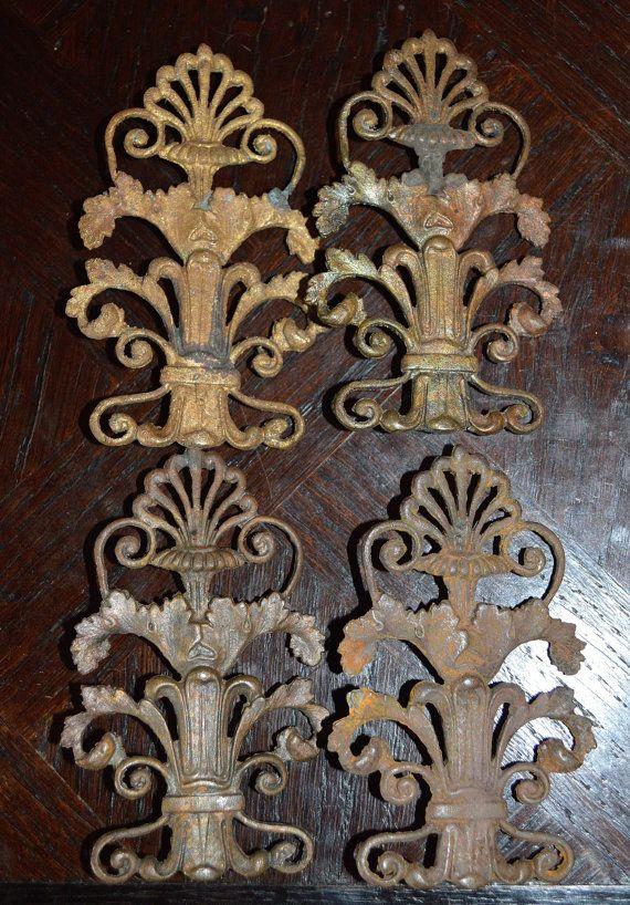 Antique French Bronze Decorative Onlay Hardware Ornate Design Diy Furniture Repurpose Supplies Set Of 4