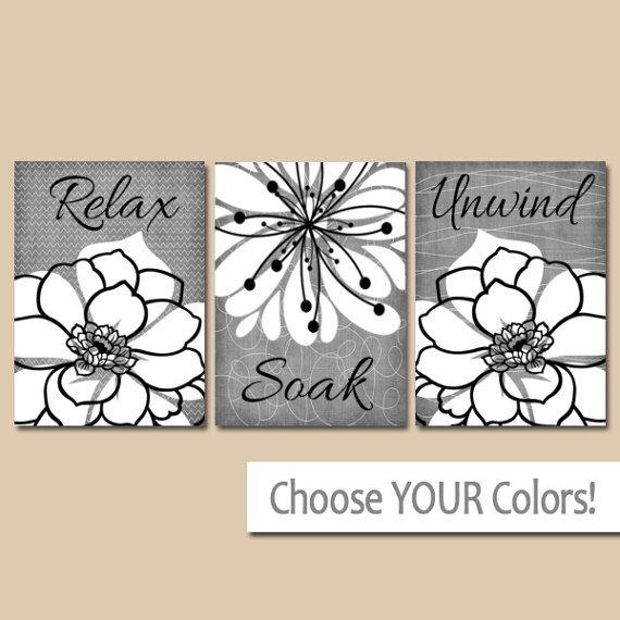 Gray BATHROOM WALL Art, CANVAS or Prints, Relax Soak ...