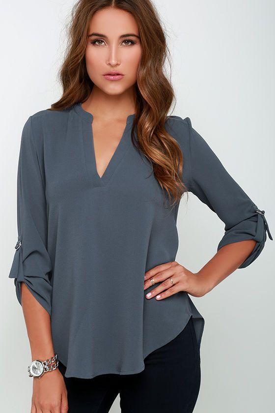 Wayfaring Wanderer Slate Blue Top   Fashion tops blouse, Women shirts  blouse, Casual chiffon blouse