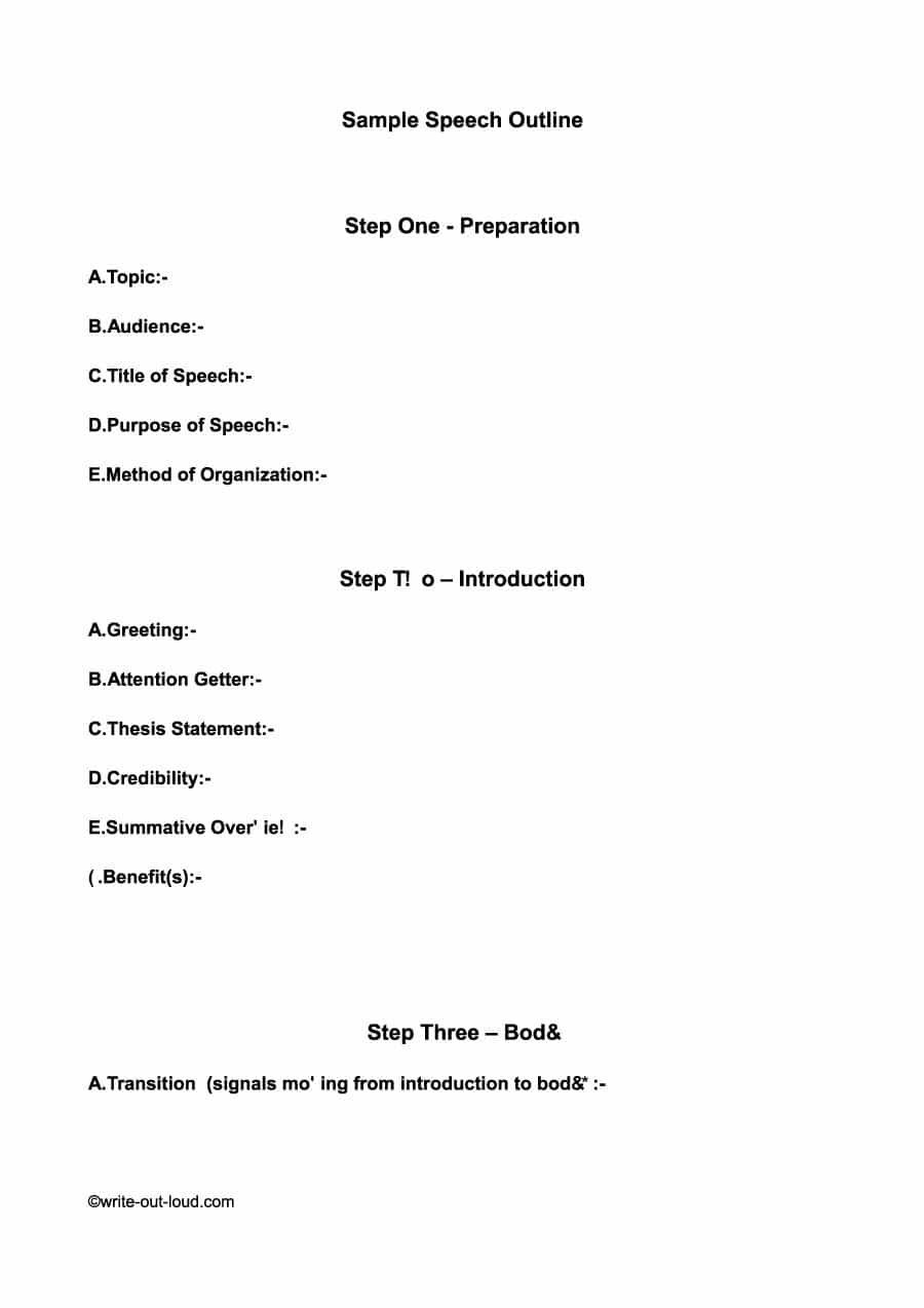 43 Informative Speech Outline Templates Examples Speech Throughout Speech Outline Template Word Best Template Ideas Speech Outline Best Templates Outline