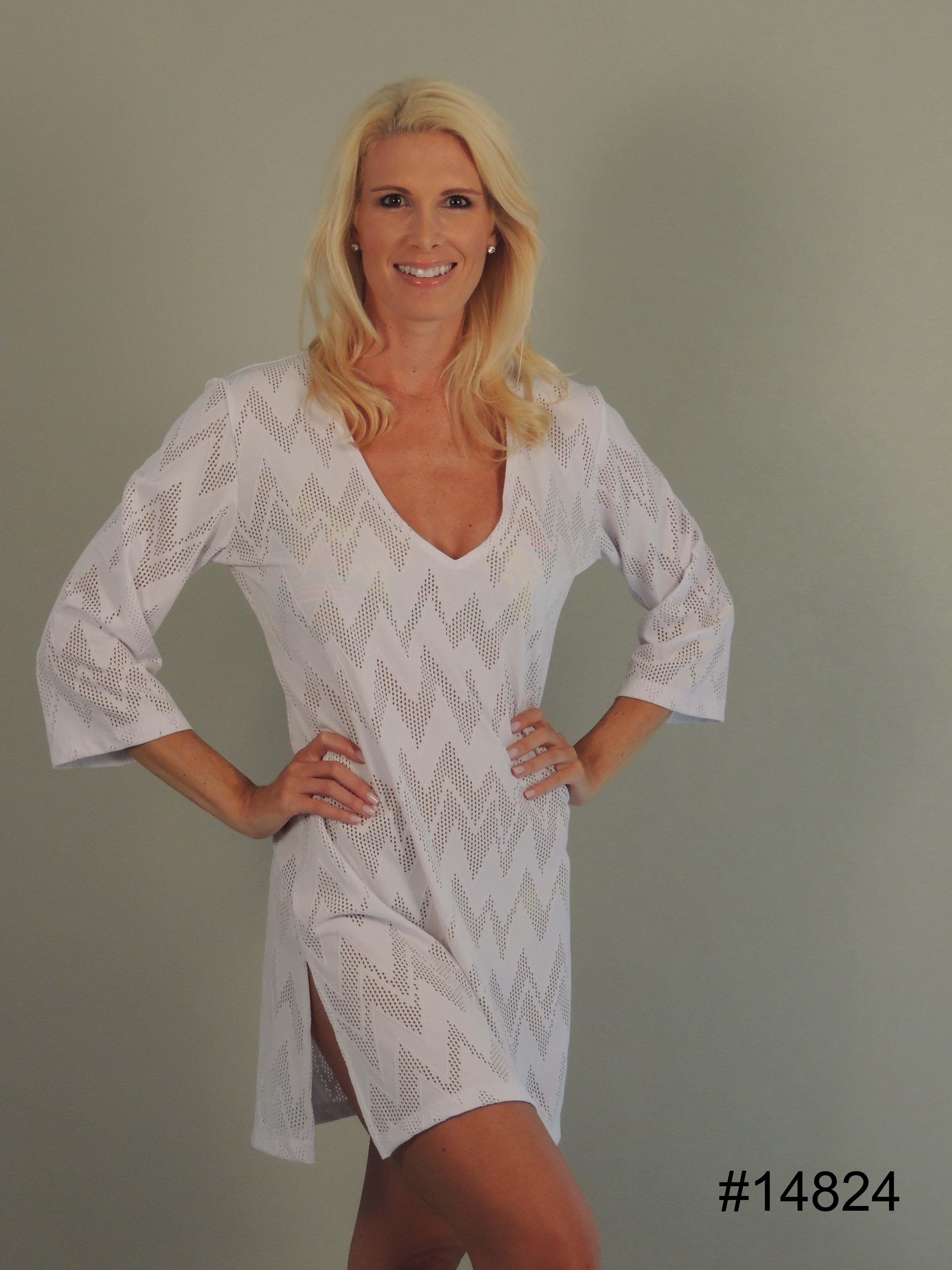 6d5f26f81e J. Valdi 3/4 Length Sleeve Tunic Cover Up Dress. Color white.