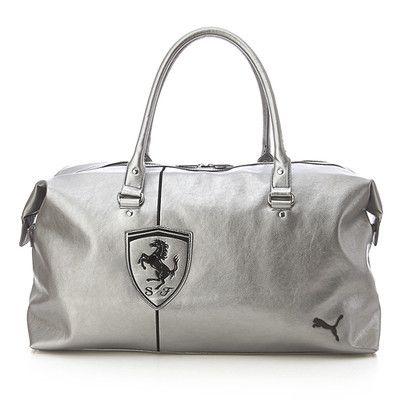 BN PUMA Ferrari LS Duffle Travel PU Leather Bag in Silver Color  dc9952ccdf385