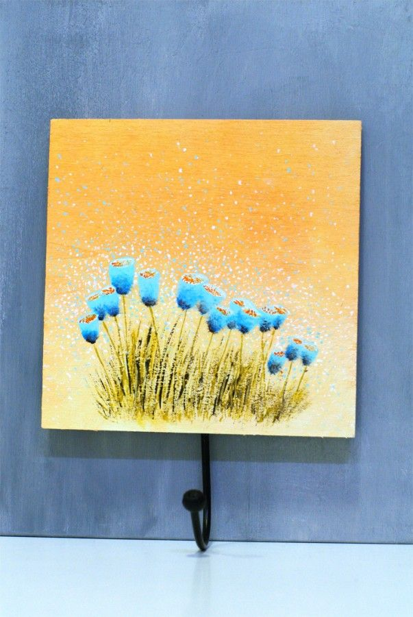 Wood art Orange Blue Floral painting - Wooden wall art - Wood wall ...