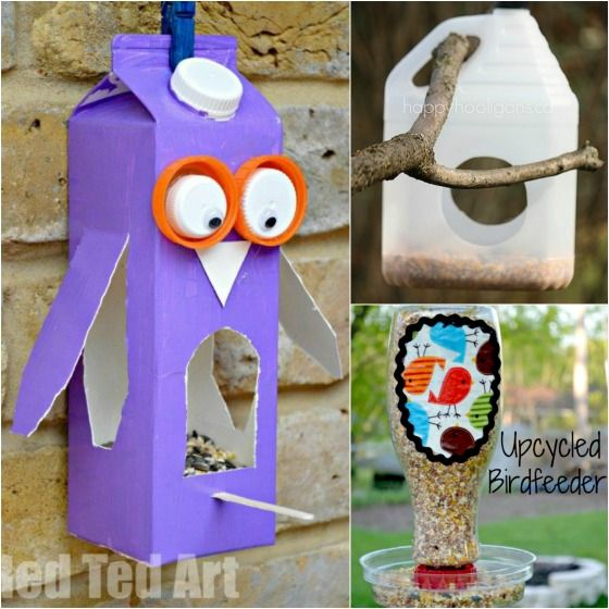 32 easy homemade bird feeders bird feeder bird and craft for Cool things to make out of recycled materials