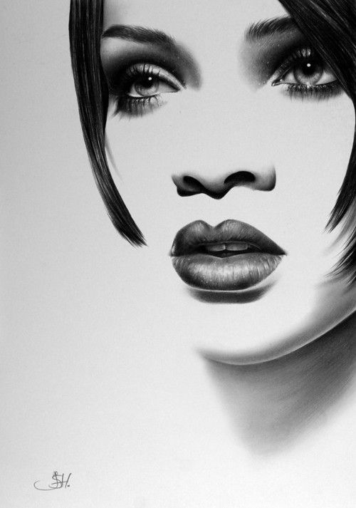 Rihanna Minimalism Original Pencil Drawing Fine Art Portrait Glamour Beauty
