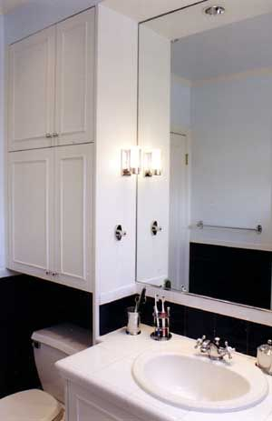 Large Mirror With Cabinet Over The Toilet For Storage