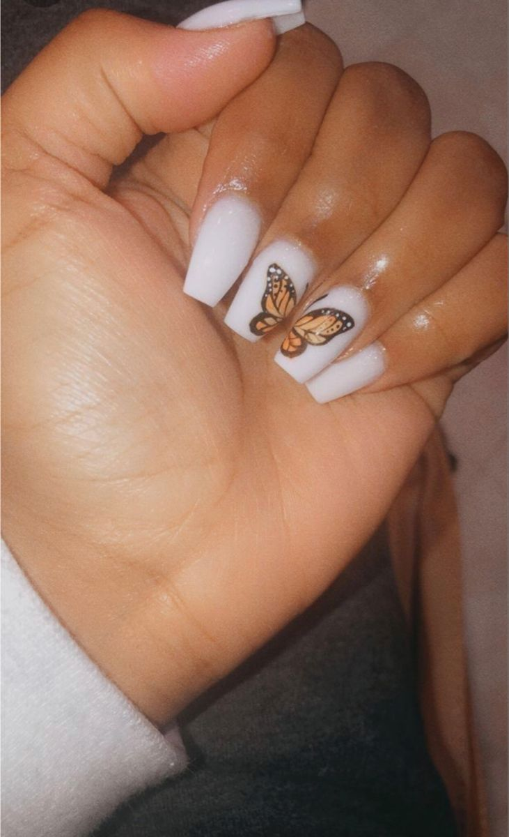 Butterfly Acrylics In 2020 Short Acrylic Nails Designs Acrylic Nails Coffin Short Square Acrylic Nails