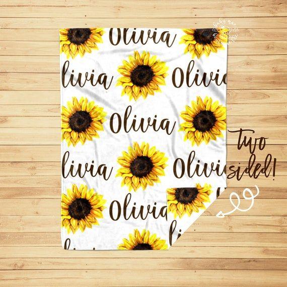 Photo of Sunflower Baby Girl Blanket and Crib Sheet / Personalized Newborn Swaddle / Baby Shower Gift / Monogram Hospital Blanket