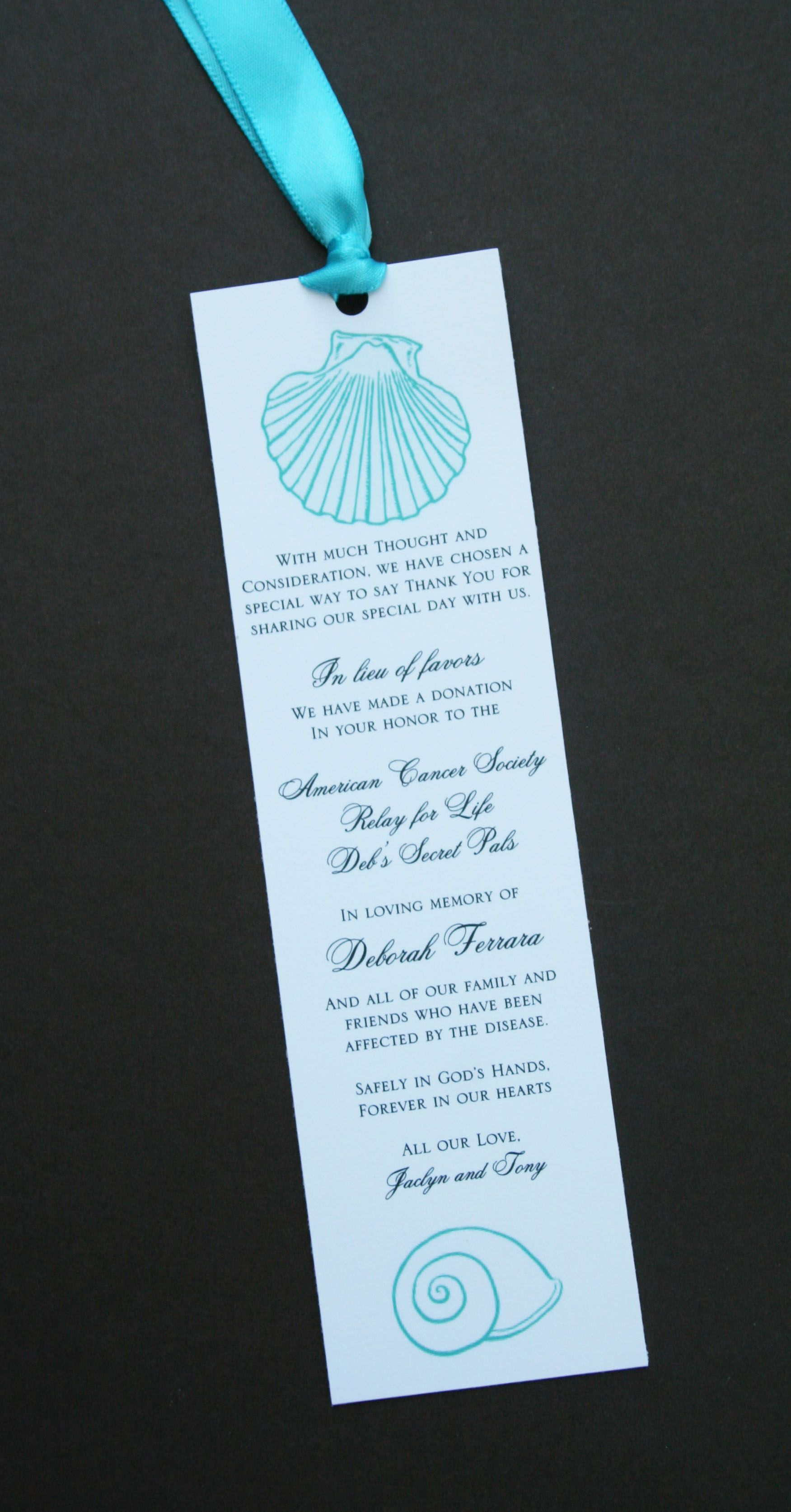 Beach Wedding Donation Bookmarks A Touch Of Sunshine By Daina