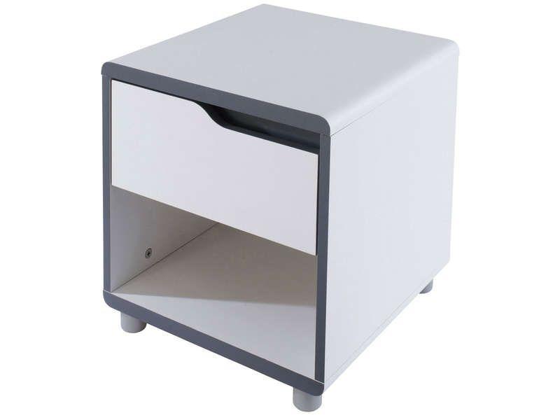 34 99u20ac chevet 1 tiroir moby coloris blanc gris vente de chevet