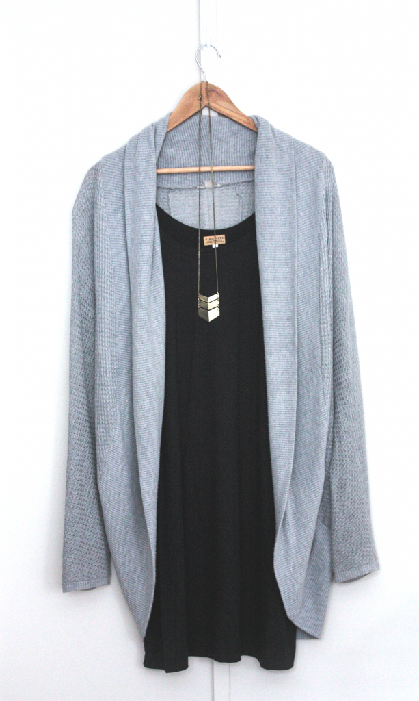 simple black shift dress - urban outfitters kimono cardigan - chevron necklace
